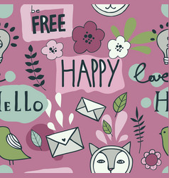 seamless pattern with icons and speech bubbles vector image
