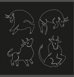 set bulls linaer stylized silhouettes of vector image