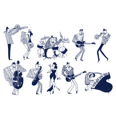 set funny jazz musician characters vector image