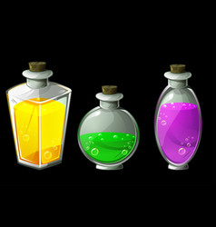 set isolated magic potions in glass vector image