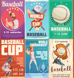 Set of baseball posters in retro style vector
