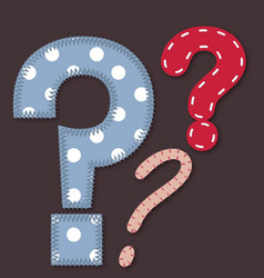 Set of stitched font - question mark vector image