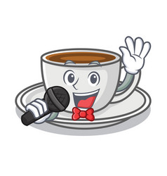 singing coffee character cartoon style vector image