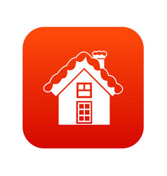 small snowy cottage icon digital red vector image