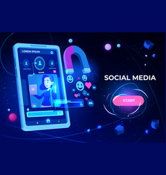 Social media web banner magnet attracting likes vector