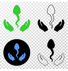 sperm care hands eps icon with contour vector image