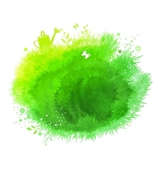 Spring watercolor green background vector image
