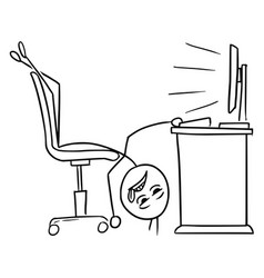 stick man cartoon of man lying on the office vector image
