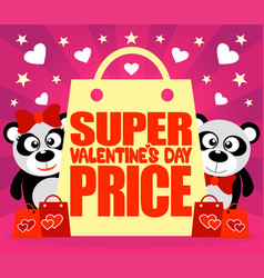 super valentines day price card with pandas vector image