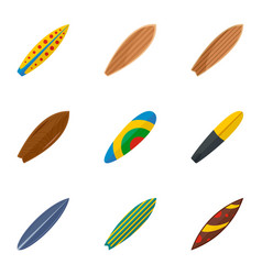 Surf board icon set flat style vector