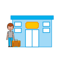 Tourist in hotel building vector