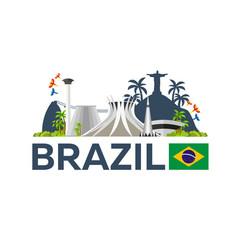 travel to brazil skyline vector image