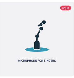 Two color microphone for singers icon from music vector