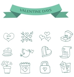 Valentine day of icons collection vector