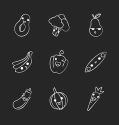 Vegetables and fruits cute kawaii chalk vector