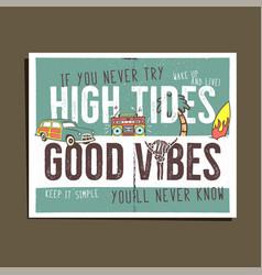 vintage summer adventure print design poster vector image