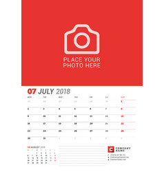 wall calendar planner for 2018 year july print vector image