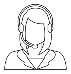Woman avatar and headphones graphic vector