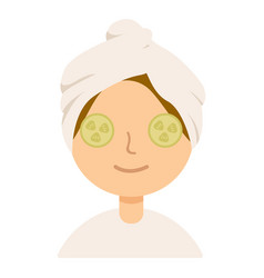 woman with a mask on the face cucumber slices on vector image