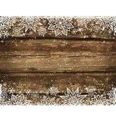 Wooden brown christmas background with snowflakes vector