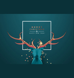 year 3d low poly copper deer head vector image