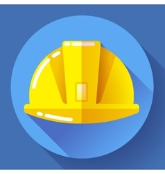 Yellow construction worker helmet icon Flat vector image