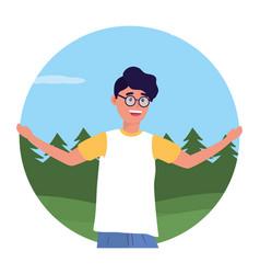 Young happy man cartoon vector