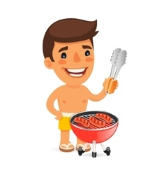 Young Man Cooking Sausages on Barbecue During vector image