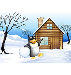 A penguin outside the house vector image vector image