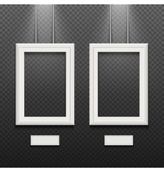 Empty white poster frames isolated on transparent vector image