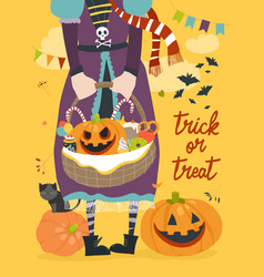girl holding basket with pumpkin and sweets vector image
