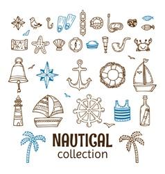 Hand drawn nautical collection Marine icon set Sea vector image