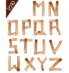 Old Grunge Wooden Alphabet vector image