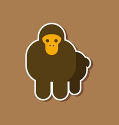 paper sticker on stylish background cartoon monkey vector image vector image