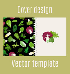 salad leaves and herbs pattern cover vector image vector image