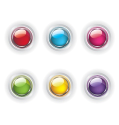 Set of color glass buttons vector image
