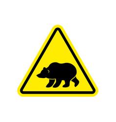 bear warning sign yellow predator hazard vector image vector image