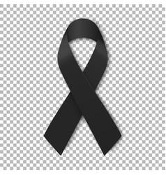 black mourning ribbon on transparent background vector image