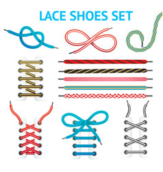 colorful shoelace icon set vector image vector image