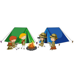four kids camping out vector image