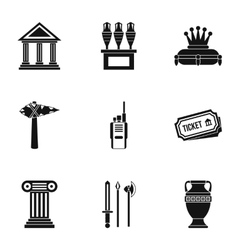 Gallery in museum icons set simple style vector