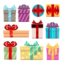 Gift boxes flat icons set vector image vector image