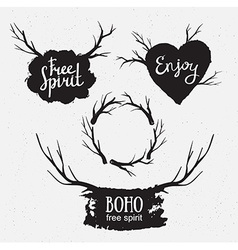 Set of rustic logo elements Hand drawn Hipster vector image vector image
