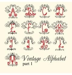 Vintage alphabet set letters part 1 vector image