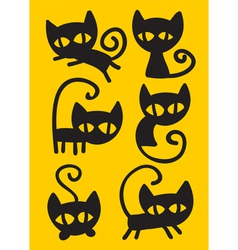 black cat set vector image