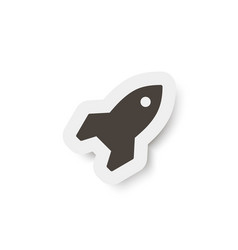 cutout paper background with rocket sign icon vector image