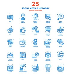 Modern Flat Line Color Icons Social Media and vector image