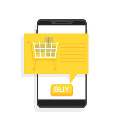 online shopping via phone button to buy vector image