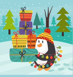 penguin carries many gifts vector image vector image