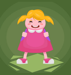picture of a little cheerful girl in a pink dress vector image vector image